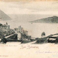 Postales: SAN SEBASTIÁN DONOSTIA POSTAL RESELLADA VISTA DE LA ISLA E IGUELDO MUY ANTIGUA EDIT. ROMMIER Y JONAS. Lote 145035866