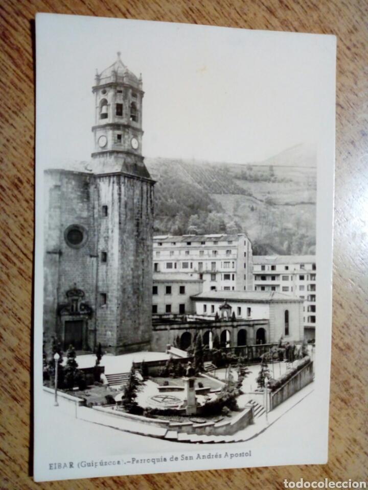POSTAL CIRCULADA - EIBAR. PARROQUIA SAN ANDRÉS APOSTOLL - FRANQUEADA, ESCRITA AÑOS 50 - (Postales - España - País Vasco Moderna (desde 1940))