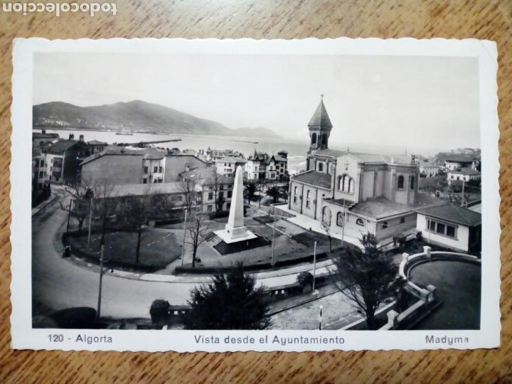 POSTAL CIRCULADA - 120. ALGORTA VISTA DESDE EL AYUNTAMIENTO.ED. MADYMA - FRANQUEADA, ESCRITA 1955 - (Postales - España - País Vasco Moderna (desde 1940))