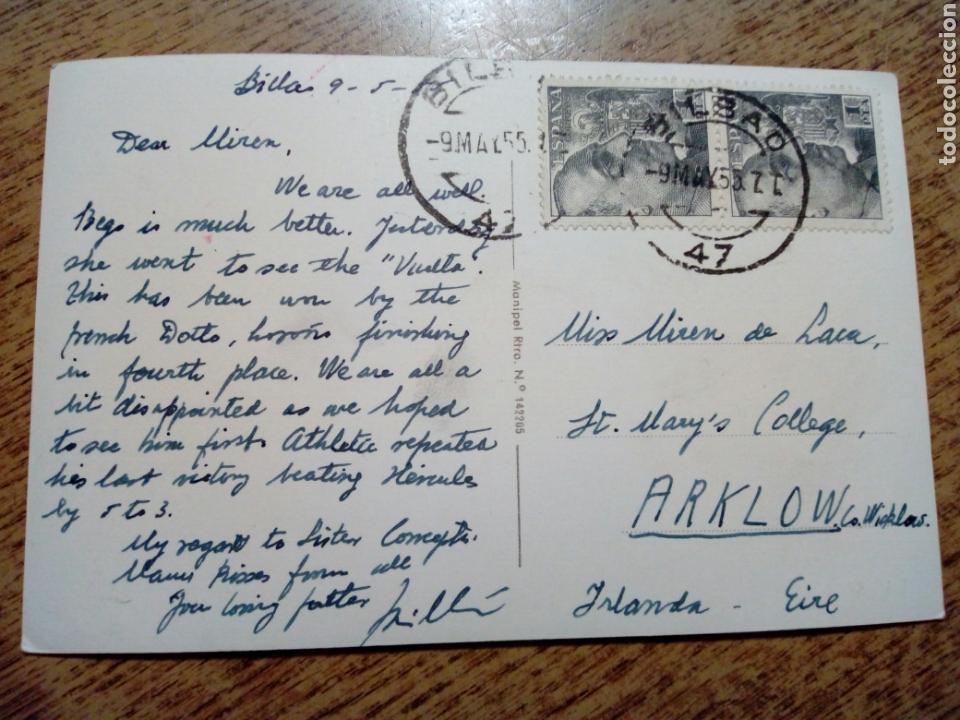 Postales: POSTAL circulada - LAS ARENAS. La playa. Ed. Manipel - franqueada, escrita 1955 - Vizcaya - Foto 2 - 145197490