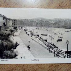 Postales: POSTAL CIRCULADA - LAS ARENAS. LA PLAYA. ED. MANIPEL - FRANQUEADA, ESCRITA 1955 - VIZCAYA. Lote 145197490