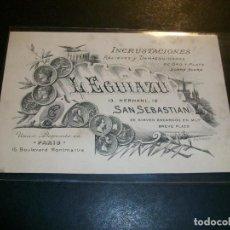 Postales: SAN SEBASTIAN TARJETA PUBLICIDAD COMERCIAL L. EGUIAZU CALLE HERNANI INCRUSTACIONES Y DAMASQUINADO. Lote 147004778