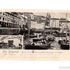 Postales: SAN SEBASTIÁN.- BARRIO DE LA JARANA Y PUERTA DE ENTRADA AL MUELLE. FOTOGRAFIA RENNES. Lote 147479630
