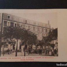Postales: SAN SEBASTIAN HOTEL DE LONDRES Y D´ANGLETERRE POSTAL CON IMAGEN A DOS CARAS AUTOMOVILES. Lote 147576558