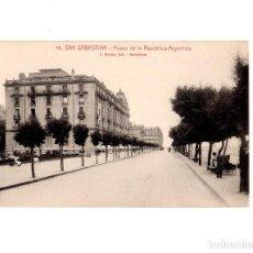 Postales: SAN SEBASTIÁN.(GUIPÚZCOA).- PASEO DE LA REPUBLICA ARGENTINA. Lote 148526994