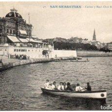 Postales: POSTAL DE SAN SEBASTIÁN GUIPUZCOA EDIT. G. GALARZA SELLADA Y RESELLADA 1908 CASINO Y R.C. NÁUTICO. Lote 149246674