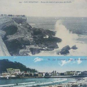 San Sebastián. Lote de 3 postales antiguas: Playa de la concha, Puerto y Rompeolas desde el castillo