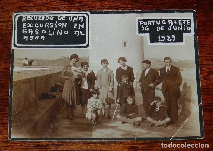 FOTOGRAFIA DE PORTUGALETE 1929, EXCURSION EN LINEA GASOLINO AL ABRA, MIDE 11,5 X 8,5 CMS. (Postales - España - Pais Vasco Antigua (hasta 1939))