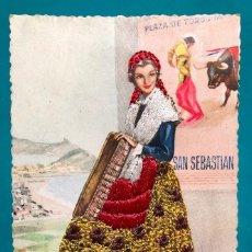 Postales: POSTAL BORDADA PLAZA DE TOROS DE SAN SEBASTIAN. Lote 153873938