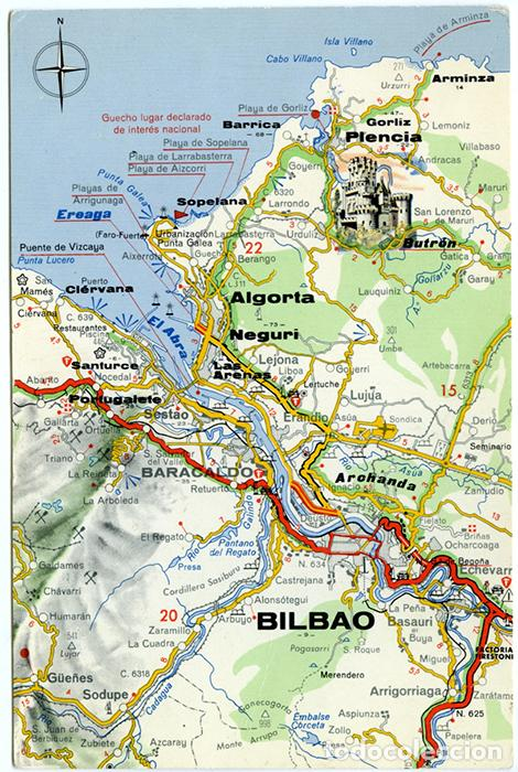 Mapa Turistico Cornisa Cantabrica Ria De Bilba Comprar Postales