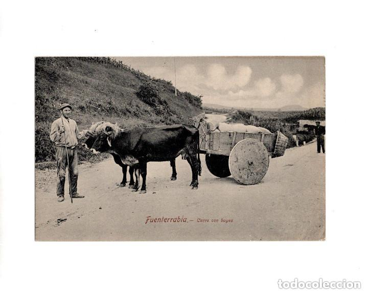 FUENTERRABÍA.- CARRO CON BUEYES. (Postales - España - Pais Vasco Antigua (hasta 1939))
