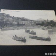 Postales: BILBAO HOSPITAL CIVIL DE BASURTO (TITULO ERRONEO) PUENTE GIRATORIO FUNCIONANDO. Lote 155500418