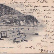 Postales: ZARAUZ (GUIPUZCOA) - PLAYA Y CASETA DE BAÑOS. Lote 156448182