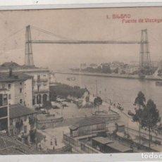 Postales: 1 BILBAO PUENTE DE VIZCAYA. ED G L BILBAO. CIRCULADA. SELLO DESPRENDIDO. . Lote 156997366
