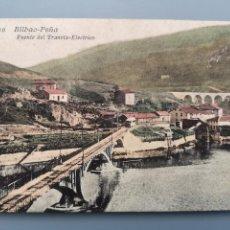 Postales: POSTAL BILBAO LA PEÑA Nº 20 PUENTE DEL TRANVIA ELECTRICO ED LIBRER VILLAR VIZCAYA PERFECTA CONSERVAC. Lote 162552062