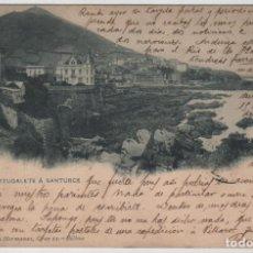 Postales: POSTAL BILBAO DESDE PORTUGALETE A SANTURCE CIRCULADA EN 1903 LANDABURU HERM HAUSER MENET NÚMERO 1022. Lote 162916114