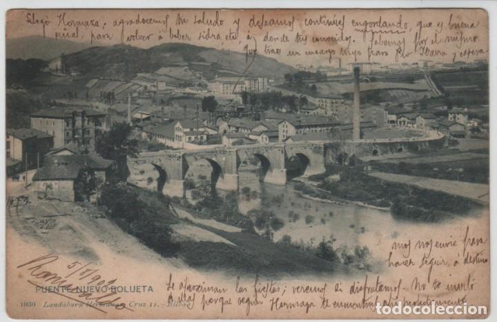 POSTAL BILBAO PUENTE NUEVO BOLUETA CIRCULADA EN 1902 LANDABURU HERM HAUSER MENET NÚMERO 1030 (Postales - España - Pais Vasco Antigua (hasta 1939))