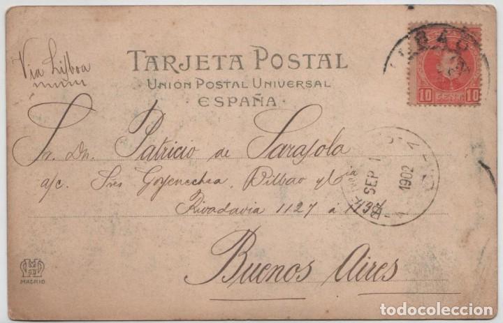 Postales: Postal Bilbao Puente nuevo Bolueta Circulada en 1902 Landaburu Herm Hauser Menet número 1030 - Foto 2 - 162916198