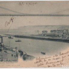 Postales: POSTAL BILBAO PUENTE VIZCAYA CIRCULADA EN 1901 LANDABURU HERMANAS HAUSER MENET NUMERO 33. Lote 162924106