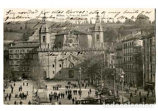 BILBAO PASEO DEL ARENAL ED. L.G. REVERSO SIN DIVIDIR. CIRCULADA (Postales - España - Pais Vasco Antigua (hasta 1939))