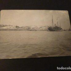Postales: SANTURCE BILBAO VIZCAYA FOTOGRAFIA TAMAÑO POSTAL BARCOS COSTA NEVADA HACIA 1915. Lote 165011582