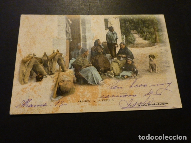 ARAGON A LA FRESCA FOTOTIPIA DE L. ESCOLA REVERSO SIN DIVIDIR CIRCULADA (Postales - España - Pais Vasco Antigua (hasta 1939))
