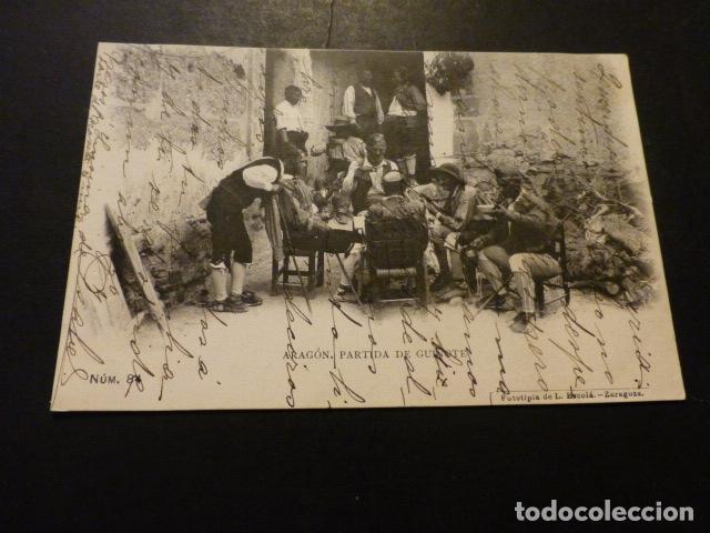 ARAGON PARTIDA DE GUIÑOTE FOTOTIPIA DE L. ESCOLA REVERSO SIN DIVIDIR (Postales - España - Pais Vasco Antigua (hasta 1939))