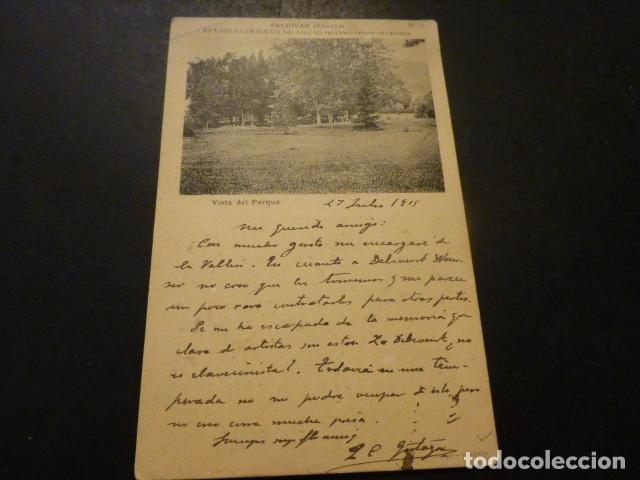 ZALDIVAR VIZCAYA ESTABLECIMIENTO DE AGUAS SULFURO SALINO ALCALINAS VISTA DEL PARQUE (Postales - España - Pais Vasco Antigua (hasta 1939))