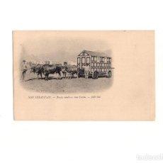 Postales: SAN SEBASTIÁN.(GUIPUZCOA).- BUEYES ATADOS A UNA CASITA. CASETA DE BAÑOS.. Lote 166131818