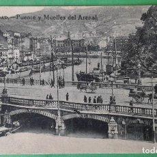 Postales: BILBAO - PUENTE Y MUELLES DEL ARENAL. Lote 166174986