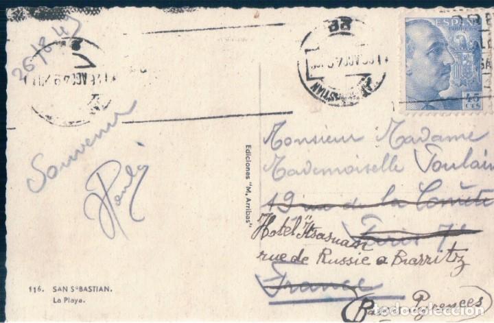 Postales: POSTAL SAN SEBASTIAN - LA PLAYA - ARRIBAS 116 - CIRCULADA - Foto 2 - 168047944