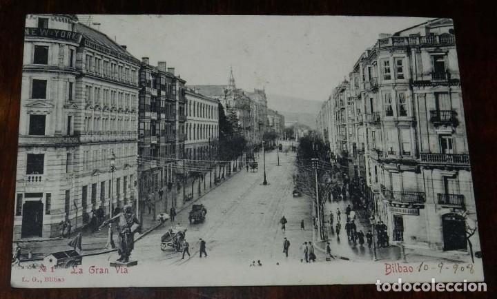 BILBAO, LA GRAN VIA L.G., REVERSO SIN DIVIDIR. CIRCULADA EN 1908 (Postales - España - Pais Vasco Antigua (hasta 1939))