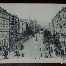 Postales: BILBAO, LA GRAN VIA L.G., REVERSO SIN DIVIDIR. CIRCULADA EN 1908. Lote 169554984