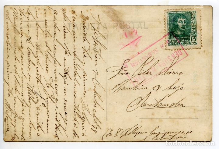 Postales: San Sebastián. Entrada al muelle y la bahía. G.H. Alsina 30 Censura Militar tinta roja - Foto 2 - 169768356