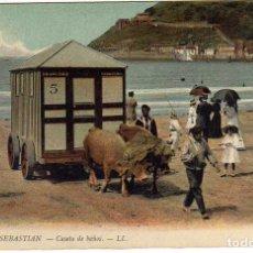 Postales: PRECIOSA POSTAL - SAN SEBASTIAN - CASETA DE BAÑOS - CASETA TIRADA POR BUEYES . Lote 171295393