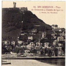 Cartes Postales: POSTAL SAN SEBASTIAN - PLAYA DE ONDARRETA Y CHALETS DE IGUELDO. Lote 174984809