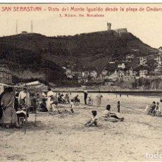 Cartes Postales: PRECIOSA POSTAL - SAN SEBASTIAN - VISTA DEL MONTE IGUELDO DESDE LA PLAYA ONDARRETA . Lote 174985292