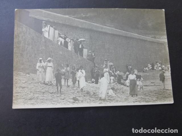 ZARAUZ GUIPUZCOA LA PLAYA POSTAL FOTOGRAFICA HACIA 1915 (Postales - España - Pais Vasco Antigua (hasta 1939))