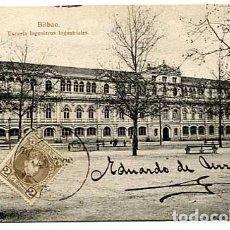 Postales: BILBAO ESCUELA INGENIEROS INDUSTRIALES ED. L.G. REVERSO SIN DIVIDIR. CIRCULADA. Lote 175802332