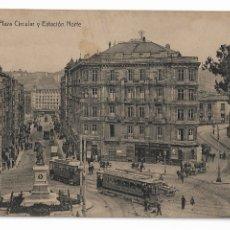 Postales: BILBAO - PLAZA CIRCULAR Y ESTACIÓN NORTE. Lote 176391610