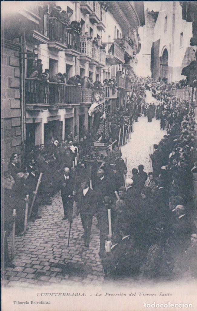 POSTAL FUENTERRABIA - LA PROCESION DEL VIERNES SANTO - TIBURCIO BERROTARAN (Postales - España - Pais Vasco Antigua (hasta 1939))