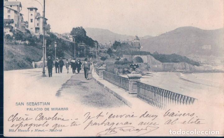 POSTAL 355 HAUSER Y MENET SAN SEBASTIAN - PALACIO DE MIRAMAR - CIRCULADA SELLO ALFONSO XIII (Postales - España - Pais Vasco Antigua (hasta 1939))