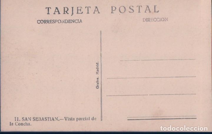 Postales: POSTAL SAN SEBASTIAN - VISTA PARCIAL DE LA CONCHA - 11 GRAFOS MADRID - BARCO - Foto 2 - 178235256