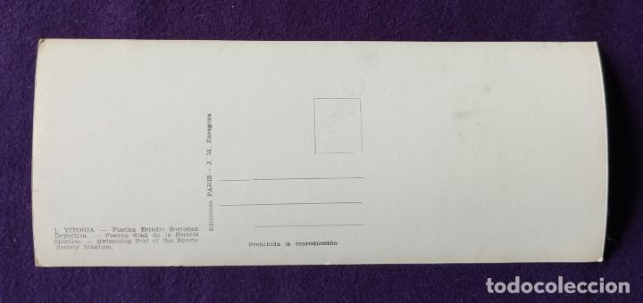 Postales: POSTAL DE VITORIA (ALAVA). N°1 PISCINA ESTADIO SOCIEDAD.TIPO PANORAMICA. 23 x 9,3 CM. RARA. AÑOS 50. - Foto 2 - 178325497