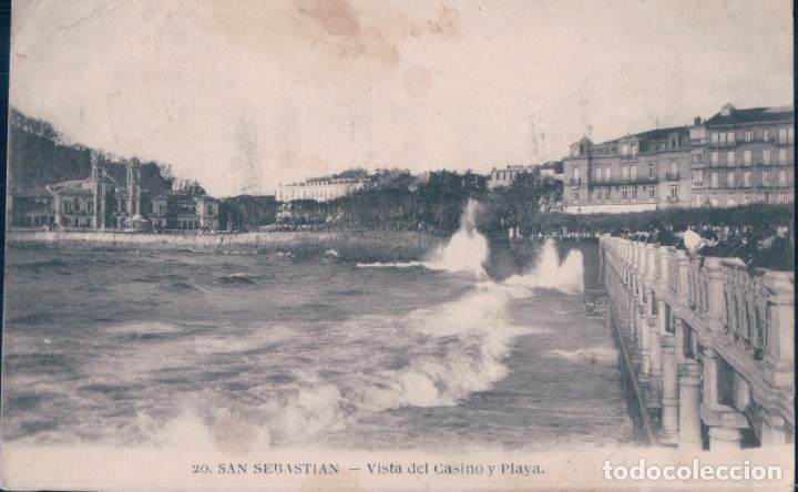 POSTAL SAN SEBASTIAN - VISTA DEL CASINO Y PLAYA - 20 MAYOR HERMANOS - CIRCULADA (Postales - España - Pais Vasco Antigua (hasta 1939))