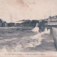 Postales: POSTAL SAN SEBASTIAN - VISTA DEL CASINO Y PLAYA - 20 MAYOR HERMANOS - CIRCULADA. Lote 178689312
