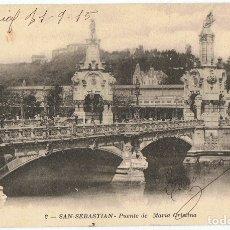 Postales: POSTAL SAN SEBASTIAN PUENTE DE MARÍA CRISTINA . Lote 178949922