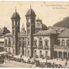Postales: POSTAL SAN SEBASTIAN FACHADA PRINCIPAL DEL GRAN CASINO . Lote 178950190