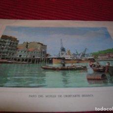 Postales: FELICITACIÓN NAVIDEÑA.BANCO DE VIZCAYA.AÑO 1954 - 1955 PASO DEL MUELLE DE URIBITARTE, BILBAO.. Lote 179080102