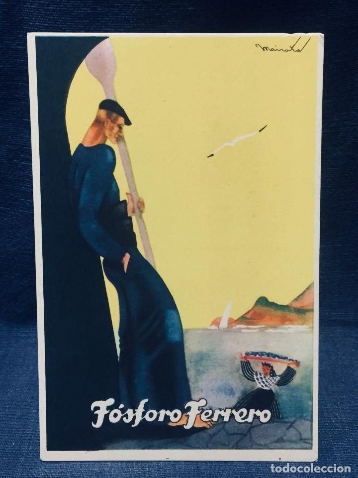 POSTAL PUBLICIDAD FÓSFORO FERRERO PESCADOR REMERO VASCONGADAS PAIS VASCO SERIE 2 Nº 4 MAIRATA (Postales - España - País Vasco Moderna (desde 1940))